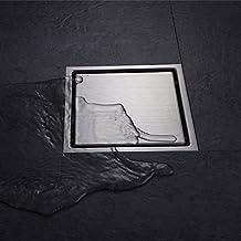 hegii sifón de suelo desagüe de ducha ecoulement de agua cuadrado S304acero inoxidable 110x 110mm Invisible llave de apertura Offerte evacuateur para jardín de cabina de ducha cocina, acero inoxidable, Acier inoxydable brossé, 110_x_110_mm