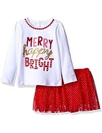 Mud Pie Girls' Toddler Girls' Holiday Christmas Mesh Tutu Skirt Two Piece Set