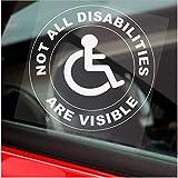 Vinilo adhesivo redondo con texto en inglés «Not All Disabilities Are Visible» para coche
