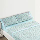 Burrito Blanco - Juego de sábanas 435 para cama 90x190/200 cm, color turquesa