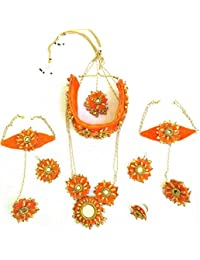 Floret Jewellery Exclusive Orange Flower Gota Patti Jewellery Set With 2 Necklaces, Earrings, Bracelets, Maang...