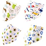 Boieo Cotton Baby Bandana Drool Bibs For Baby Boys With Snaps - Set Of 4 Different Designs(Baby Boys)