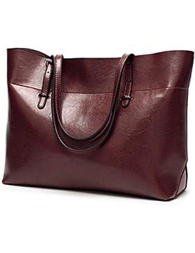 MeiliYH Dame Handtasche Öl Wachs Leder Umhängetasche Messenger Bag Geschenk für Frauen