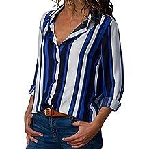 Blusa de Rayas Mujeres 2018,Camisa de Manga Larga Abotonada con Cuello en