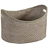 Borras Hnos - Cesto oval full rattan color patinado blanco-gris. (Color: Blanco envejecido Tamaño: 40x30x25)