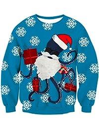 NEWISTAR Unisex Weihnachtspullover Strickpullover 3D Druck Herren Damen Pullover Weihnachten Jumper Ugly Christmas Sweater S-XXL