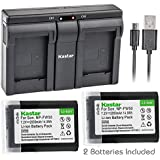 Kastar NP-FW50 Camera Batteries (Pack Of 2) With USB Dual Charger For Sony Alpha 6300 Alpha 6500 ILCE-QX1 Alpha 7 7R 7R II 7S A7R A7S A7R II A5000 A5100 A6000 A6300 NEX-7 DSC-RX10 DSC-RX10 II III 7SM2 ILCE-7R 7S