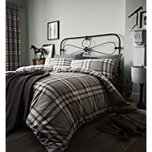 Catherine Lansfield BDB3-3905-WDHQ-Charcoal - Fundas para edredón, algodón, color Negro