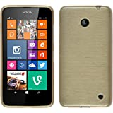 PhoneNatic Case für Nokia Lumia 630 Hülle Silikon gold brushed Cover Lumia 630 Tasche Case