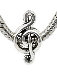 Buddy Charm Plaqué Argent-Clef de Sol-Note de musique pour Bracelets type Pandora, Troll et Chamilia
