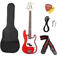 ammoon Guitarra Bajo Eléctrico Madera Maciza Estilo PB Cuerpo de Tilo Diapasón de Palisandro con el Bolso del Compartimiento
