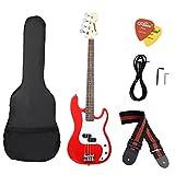 ammoon Bois Massif Guitare Basse électrique PB Style Basswood Corps Palissandre avec Sac Gig Sangle Micros Câble