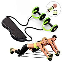 Sport Core Double AB Roller Exercise Equipment,Professional Ab Wheel Roller Supports, Abdominal Workout Machine, Ideal Men Women Home Gym Coaster Pull Roda Waist Slimming Trainer