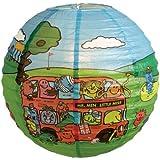 Lighting Web - Lámpara de papel de techo colgante (35,5 cm), diseño de personajes de Mr Men en autobús y campo de golf