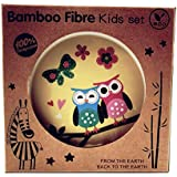 Latest Design New Bamboo Fiber Kids Dinnerware Totally 100% Degradable / Bamboo Fiber Kids Dinnerware 5pcs Less Melamine, BPA Free Set | Plate Set | Toddler Dinner Set | Eco-Friendly Bamboo Dishes | Food-Safe Feeding Set For Toddlers And Little Kids | Gif