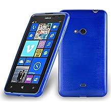 Nokia Lumia 625 Custodia silicone TPU in BLU MARINA di Cadorabo (Disegno BRUSHED) – Morbida Cover Protettiva Super Sottile con Bordo Protezione – Back Case posteriore Gomma Bumper antiurto originale Ultra Slim Gel Guscio flessibile fina thin
