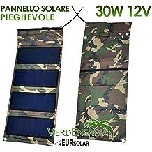 Faltbarer Solarpanel 30W 12V Solar Ladegerät Tragbar eursolar Wasserdicht Klappbar Hochleistungs fÜr iPhone iPad Camper Auto