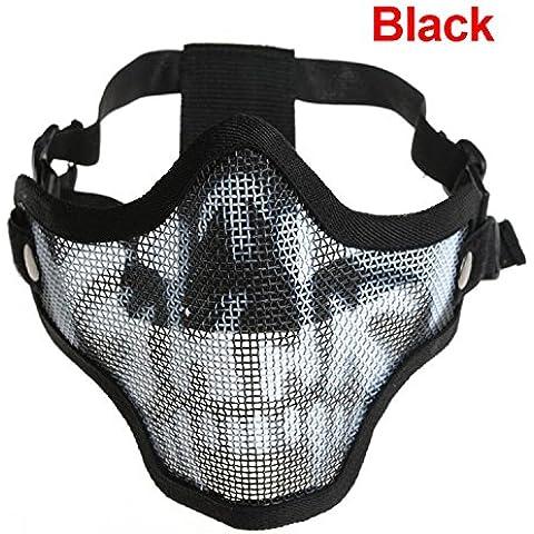 Professione Tactical Paintball CS Gioco in metallo e rete protettiva maschera adulti Halloween maschera mezzo volto di teschio, Black Camo