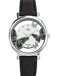 Go Girl Only analoge Quarzuhr für Damen, silberfarbenes Zifferblatt, Armband aus schwarzem Leder, 698646