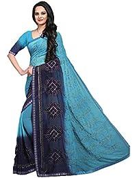 [Sponsored]Craftsvilla Women's Chiffon Saree Embroidered Bollywood Style Blue Saree With Blouse Piece