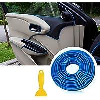 Tiras de ajuste de molduras interiores del coche - AUTOMAN 16.4ft Gap Filtros de relleno Tiras Auto Universal Decoraciones Automóvil bricolaje Gap Garnish con herramienta de instalación (Azul, 5m)