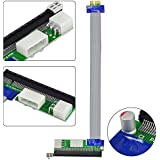 MENGS® PCI-E 1X a 16X expreso cable de extensión de la tarjeta vertical de + conector de alimentación Molex de doble para la minería bitcoin