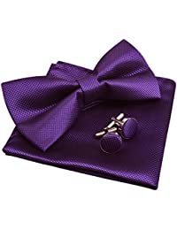 Solid Pre-tied Bow Tie Cufflinks Hanky Set for Men Neck Wear, Dark Purple