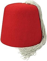 Chapeau Fez Rouge avec houppe blanche