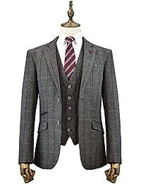 Cavani Albert 3piezas Trajes de cuadros Tweed ajuste Regular Blazer gris