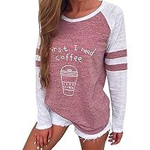 Kavitoz Damen Patchwork T Shirt Pullover Frau Gestreift Schick Elegant Sport Sweatshirt Blusen Tops mit Süß Muster