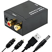 Conversor de audio, Houson Audio Convertidor de Digital (Toslink y coaxial) a analógico (RCA y jack de 3,5 mm) – 2 x RCA estéreo Audio (L/R) a digital de audio digital a analógico Audio corriente con cable Toslink y cable USB de alimentación