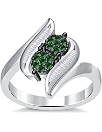 Silvernshine 3.5Ct Round Cut Sim Green Garnet Diamonds 14K White Gold PL Engagement & Wedding Ring