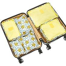 Dexinx 6 en 1 Set de Organizador de Equipaje Perfecto para Viaje con Cubos de Embalaje Impermeable Organizador de Maleta Bolsa para Ropa de Viaje Amarillo