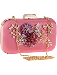 Floral bolsa de evening, Pearl cuentas garras bolsas Monederos Flores Wedding Evening bolso de mano