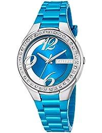add6eb1ef7fc Calypso mujer-reloj analógico Fashion PU-Pulsera Esfera Azul claro cuarzo- reloj UK5679