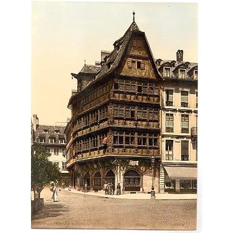Vintage vista di altehaus, Strassburg, Alsazia Lorena, Germania, Large A3misura 41by 29cm Tela Foto
