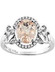 Revoni 14ct oro colgantes Natural Oval 9 x 7 mm anillo de Halo de diamante y acentos del corazón