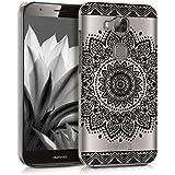 kwmobile Funda para Huawei G8 / GX8 - Case plástico para móvil - Cover trasero Diseño flor en negro transparente