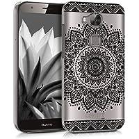 kwmobile Funda para Huawei G8 / GX8 - Case plástico para móvil - Cover trasero Diseño Flores en negro transparente