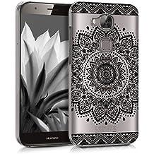 kwmobile Funda para Huawei G8 / GX8 - Case de cristal plástico para móvil - Cover trasero Diseño flor en negro transparente