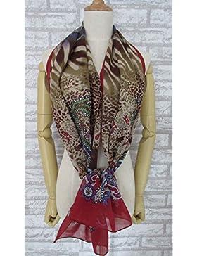 Rojo oscuro de la mujer&Brown 100% seda bufanda larga