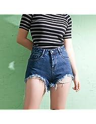 YFF Burr trou un mot taille haute slim denim shorts hot pants femme lâche,S
