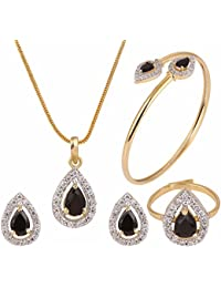 Archi Collection Designer Jewellery Combo Of American Diamond Pendant With Chain, Earrings, Ring And Bracelet...
