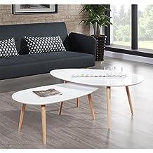 STONE Table basse ovale scandinave blanc laqué - L 88 x l ... eb52f984c374