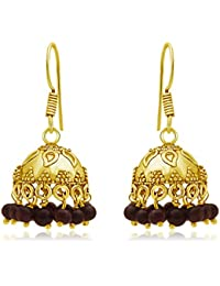 Spargz Beautiful Gold Plating Cherry Color Beads Jhumki Earrings For Women AIER 654