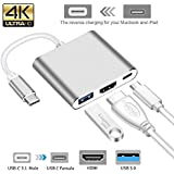 AlexVyan 1 Pcs 3 In 1 (Type C To USB ,Type C To Type C ,and Type C To HDMI) Hub 4K Adapter USB-C To HDMI Converter With 3.0 USB Port And Type C 3.1 Female Charging Port For MacBook, Surface Book, Apple (Silver)