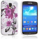 Tinxi Schutzhülle für Samsung Galaxy S4 Active Hülle I9295 Silikon TPU Rückschale Schutz Hülle Silicon Case weiß mit lila Blumen