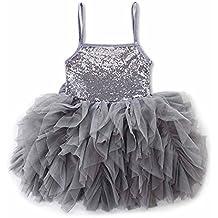 POLPqeD Moda Ragazze Bambino Sequined Mesh Sling Nozze Costumi Compleanno Principessa  Tutu in Tulle Abito 2358dfa66c5