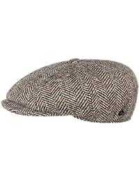 Lierys Fischgrat Flatcap (Schiebermütze) für Herren, Hatteras Cap gefertigt aus Schurwolle (Tweed) mit klassischen Fischgräten Muster, Mütze in verschiedenen Größen, Farben braun und schwarz