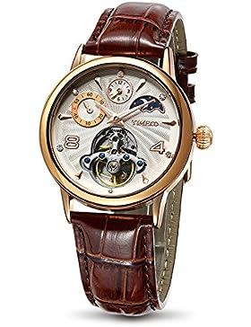 Time100 Herrenuhr Damenuhr Armbanduhr mechanischen skelettierten Uhrwerk Leder #W60011M.03A